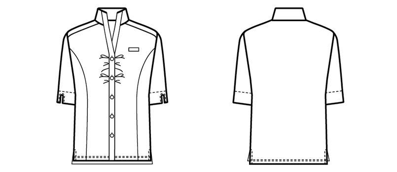 24229 BONUNI(ボストン商会) ウィングカラーニットシャツ/五分袖(女性用) ハンガーイラスト・線画