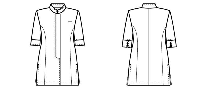 24231 BONUNI(ボストン商会) マオカラーシャツ/七分袖(女性用) ハンガーイラスト・線画