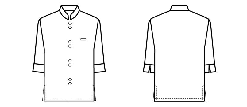 24307 BONUNI(ボストン商会) マオカラーシャツ/七分袖(男女兼用) ハンガーイラスト・線画