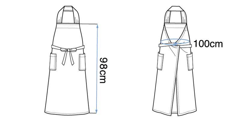 27202 BONUNI(ボストン商会) 胸当てエプロン(女性用) ハンガーイラスト・線画