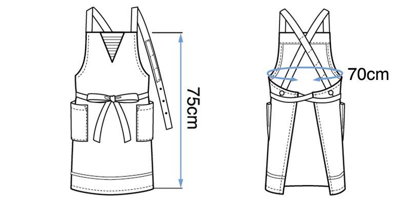 27321 BONUNI(ボストン商会) 胸当てエプロン(男女兼用) ハンガーイラスト・線画