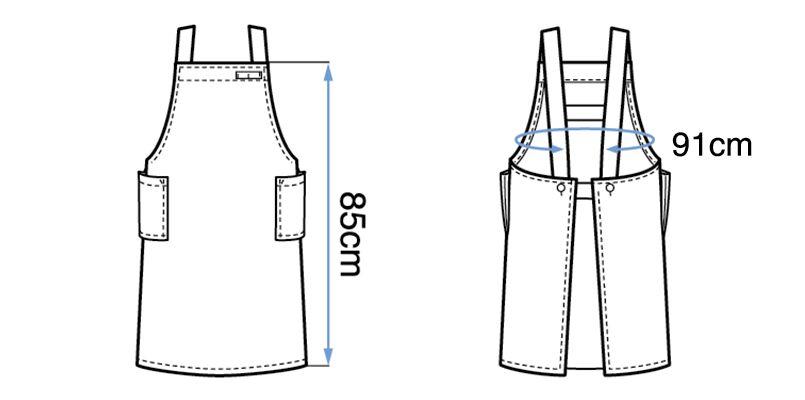 27326 BONUNI(ボストン商会) 胸当てエプロン(男女兼用) H型 ハンガーイラスト・線画