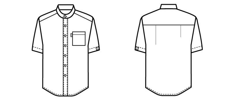 33302 BONUNI(ボストン商会) スタンドカラーシャツ/半袖(男女兼用)ストライプ ハンガーイラスト・線画