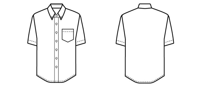 33308 BONUNI(ボストン商会) ボタンダウンシャツ/半袖(男女兼用) ハンガーイラスト・線画