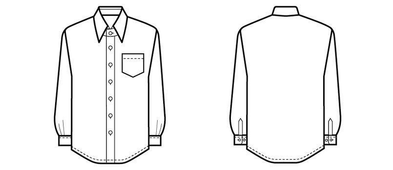 34107 BONUNI(ボストン商会) シャツ/長袖(男性用) ハンガーイラスト・線画