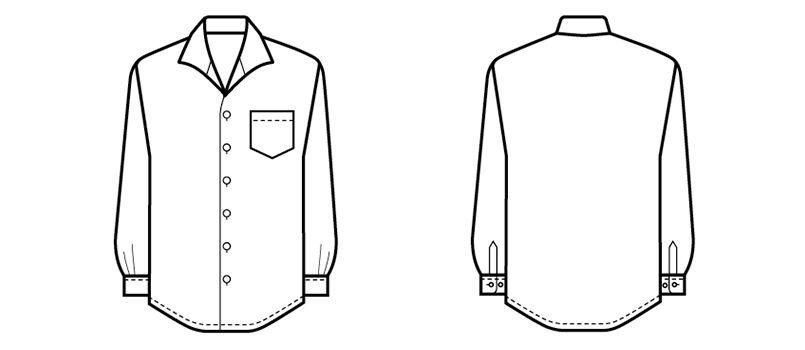 34108 BONUNI(ボストン商会) イタリアンカラーシャツ/長袖(男性用) ハンガーイラスト・線画