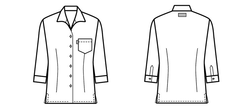 34201 BONUNI(ボストン商会) イタリアンカラーシャツ/七分袖(女性用)ストライプ ハンガーイラスト・線画