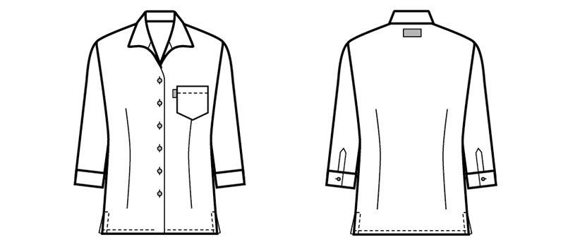 34202 BONUNI(ボストン商会) イタリアンカラーシャツ/七分袖(女性用) チェック ハンガーイラスト・線画