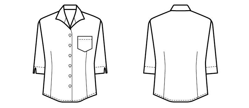 34208 BONUNI(ボストン商会) イタリアンカラーシャツ/七分袖(女性用) ハンガーイラスト・線画