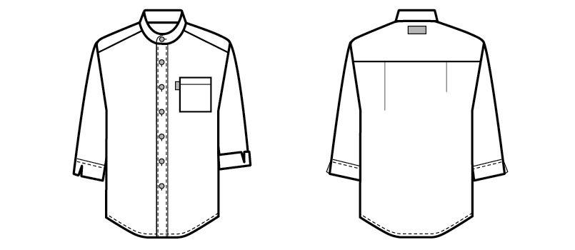 34301 BONUNI(ボストン商会) スタンドカラーシャツ/七分袖(男女兼用)ストライプ ハンガーイラスト・線画
