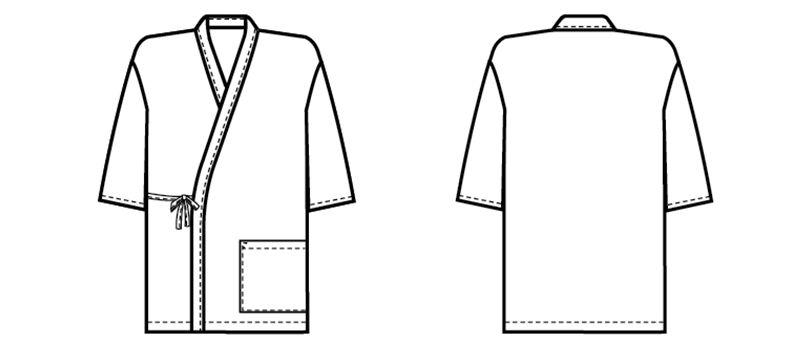 41301 BONUNI(ボストン商会) 作務衣上衣(男女兼用) ちりめん ハンガーイラスト・線画