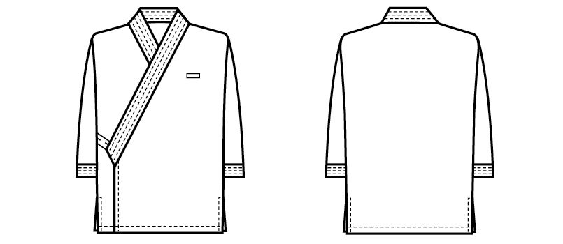 41305 BONUNI(ボストン商会) 作務衣 上衣(男女兼用) ハンガーイラスト・線画
