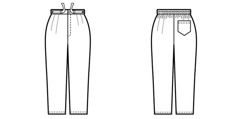 42301 BONUNI(ボストン商会) 作務衣下衣(男女兼用) ちりめん ハンガーイラスト・線画