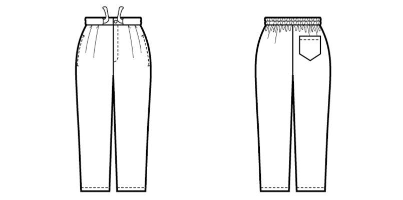 42305 BONUNI(ボストン商会) 作務衣 下衣 (男女兼用) ハンガーイラスト・線画