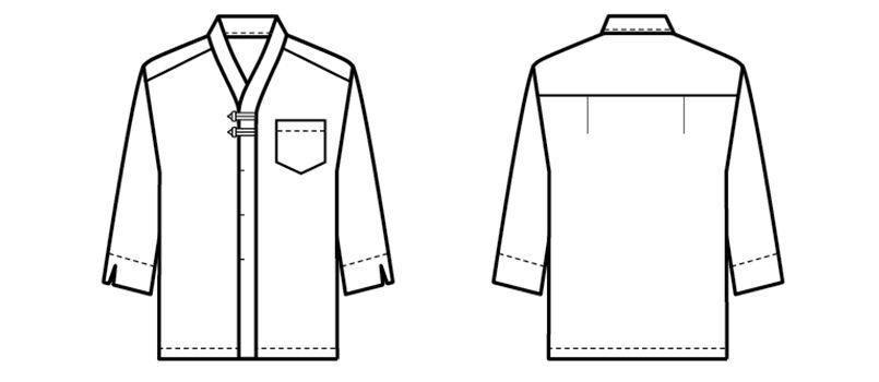 44304 BONUNI(ボストン商会) 和風シャツ/七分袖(V衿)(男女兼用) ハンガーイラスト・線画
