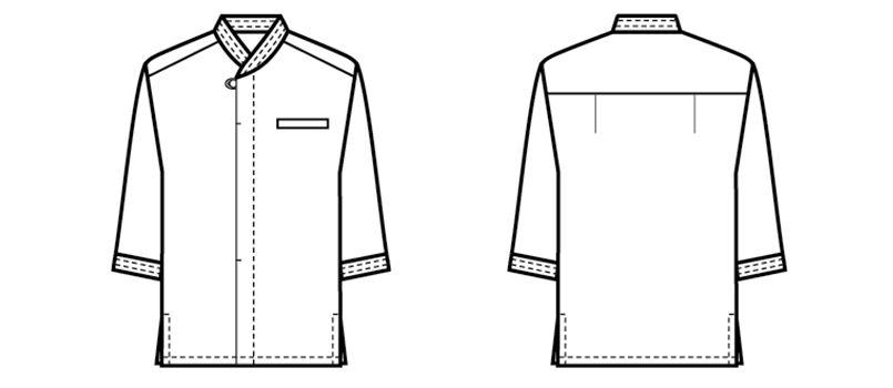 44306 BONUNI(ボストン商会) 和風シャツ/七分袖(男女兼用) ハンガーイラスト・線画