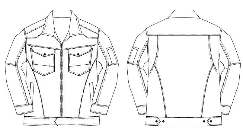 バートル 1501 [秋冬用]ヘリンボーン&T/Cソフトツイルジャケット(男女兼用) ハンガーイラスト・線画