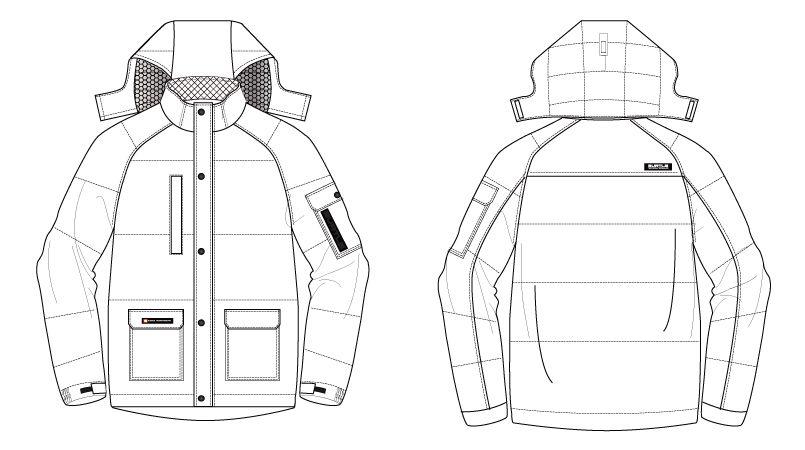 バートル 7510 [秋冬用]リップクロス防寒ジャケット(大型フード付)(男女兼用) ハンガーイラスト・線画