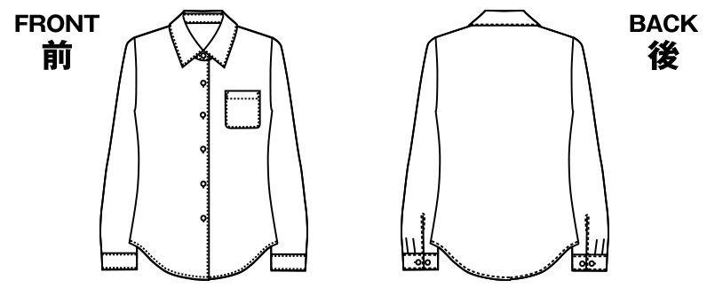 [在庫限り/返品交換不可]AR1413R アルファピア [通年]長袖ブラウス(抗菌防臭・保湿) ハンガーイラスト・線画