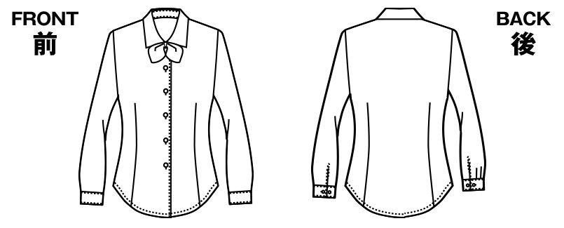 アルファピア AR1420 1421 1422 [通年]さらりと快適な肌触りの長袖ブラウス [リボン付] ハンガーイラスト・線画