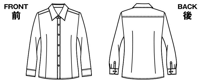 AR1432 アルファピア 長袖ブラウス ブロード(形態安定・防汚・イージーケア) ハンガーイラスト・線画