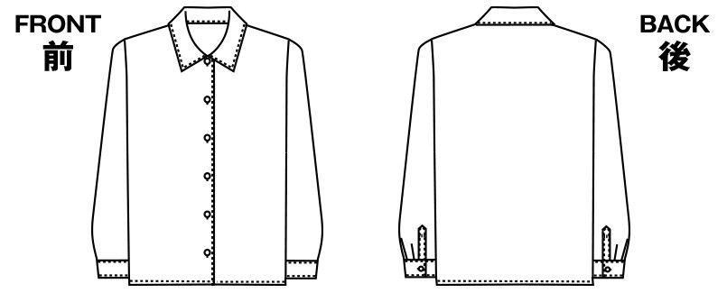 アルファピア AR1433 長袖ブラウス ブロード [形態安定/防汚/イージーケア] ハンガーイラスト・線画