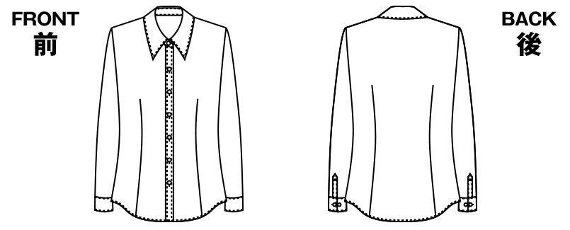 AR1451 アルファピア [通年]長袖ブラウス ファンシーストライプ ハンガーイラスト・線画