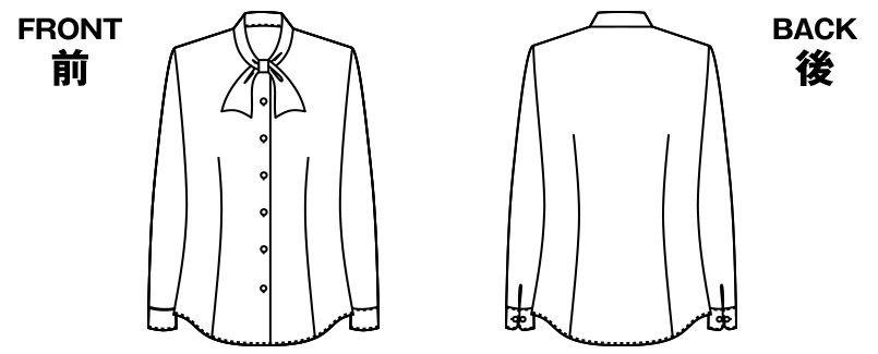 AR1452 アルファピア [通年]長袖ブラウス(ボウタイ)エスメニガードSe加工 ハンガーイラスト・線画