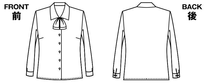 アルファピア AR1462 [通年]長袖ブラウス [リボン付] ハンガーイラスト・線画