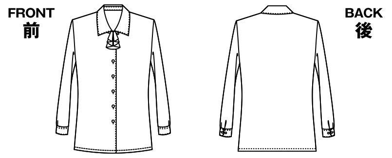 AR1480 アルファピア [通年]長袖ブラウス(リボン付き) ハンガーイラスト・線画