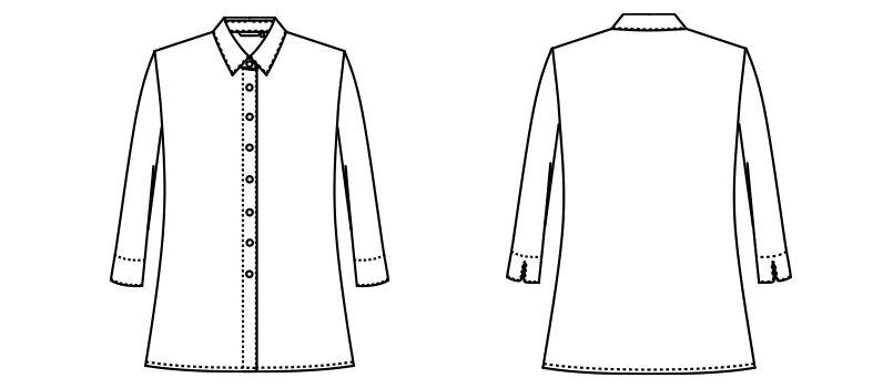 AR1529 アルファピア [通年]七分袖シャツ[ニット/紫外線カット] ハンガーイラスト・線画
