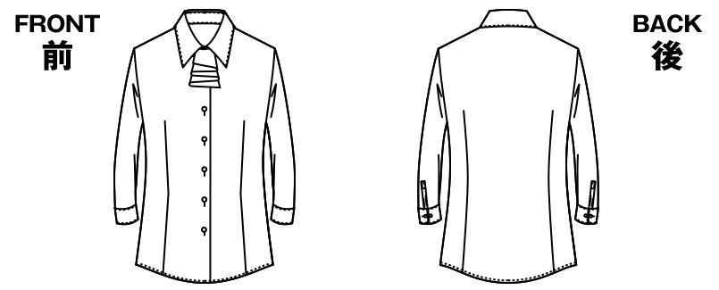 AR1547 アルファピア [通年]七分袖ブラウス(リボン付き) エムール ツイスト ハンガーイラスト・線画