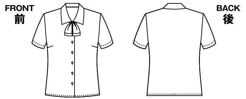 AR1662 アルファピア半袖ブラウス(リボン付き)エコ・ドビー ハンガーイラスト・線画