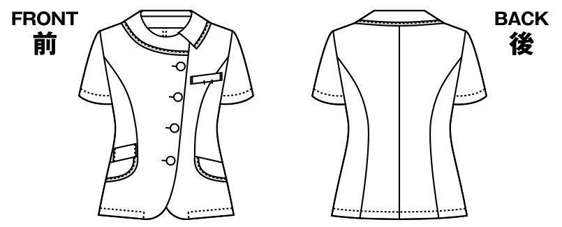 アルファピア AR1668 [春夏用]チェック柄・オーバーブラウス [高通気] ハンガーイラスト・線画