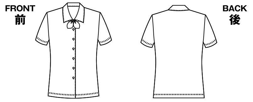 [在庫限り/返品交換不可]AR1672 アルファピア 半袖ブラウス(リボン付き) ハンガーイラスト・線画