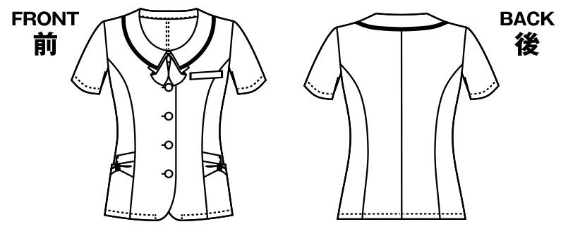 アルファピア AR1673 [春夏用]パウダーカラーチェック柄・オーバーブラウス ハンガーイラスト・線画