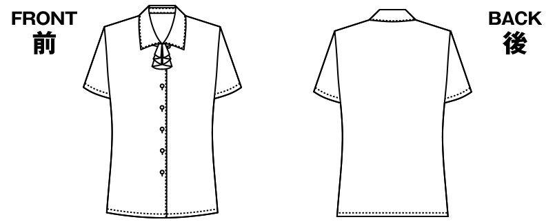 アルファピア AR1680 ラッフルリボン付きブラウス[半袖] ハンガーイラスト・線画