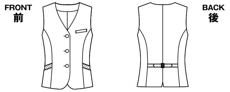 AR2823 アルファピア [通年]ベスト チェック ハンガーイラスト・線画