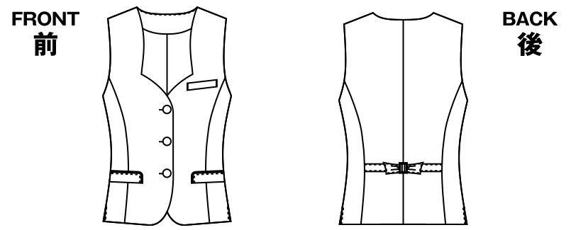 AR2831 アルファピア [秋冬用]ベスト エコ・ライラックドビー チェック ハンガーイラスト・線画