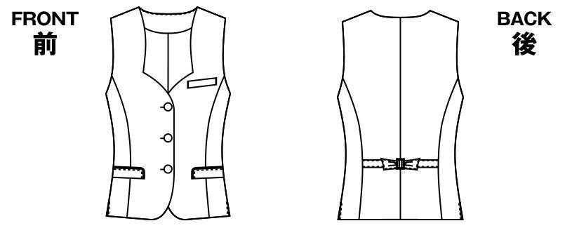 AR2832 アルファピア [秋冬用]ベスト ツイル ストレッチ 無地 ハンガーイラスト・線画