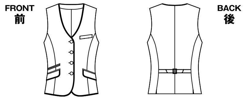 AR2840 アルファピア ベスト ミニヘリンボーン ハンガーイラスト・線画