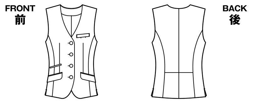 AR2853 アルファピア [通年]ベスト シャドーストライプ ハンガーイラスト・線画
