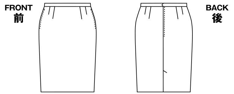 AR3434 アルファピア [秋冬用]タイトスカート ファンシーバーズアイ 無地 ハンガーイラスト・線画