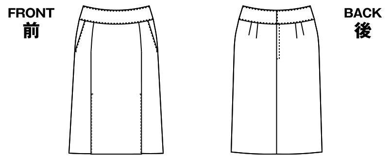 [在庫限り/返品交換不可]AR3449 アルファピア スカート(ストレートレギュラー丈) 無地 ハンガーイラスト・線画
