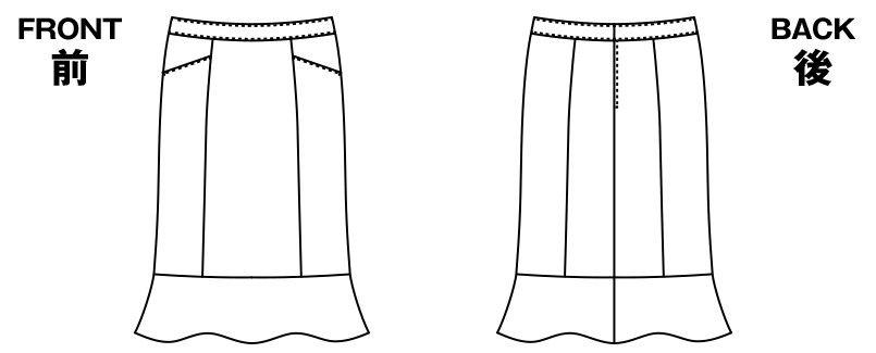 AR3451 アルファピア [秋冬用]セミタイトスカート 無地 ハンガーイラスト・線画