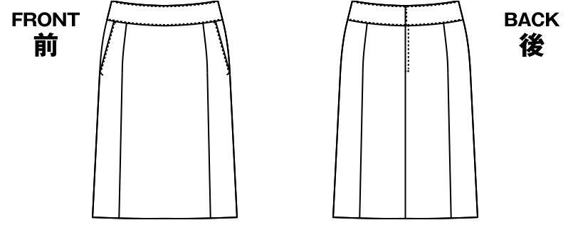 アルファピア AR3668 [通年]Aラインスカート ストライプ [吸汗速乾/軽量/形態安定] ハンガーイラスト・線画