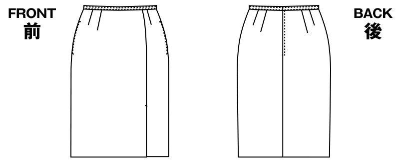アルファピア AR3800 [秋冬用]左前プリーツ入りタイトスカート ハンガーイラスト・線画