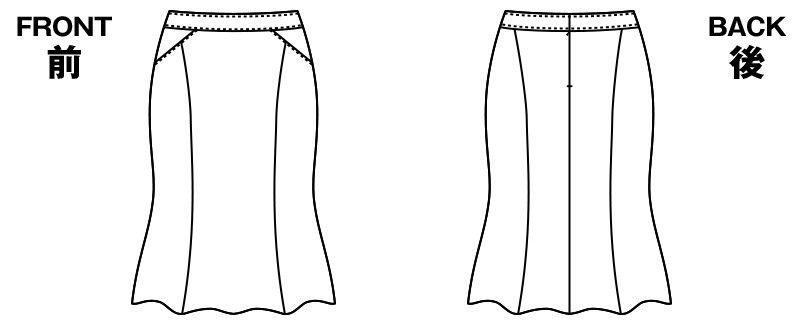 [廃番/在庫限り]AR3809 アルファピア マーメイドスカート 無地 ハンガーイラスト・線画