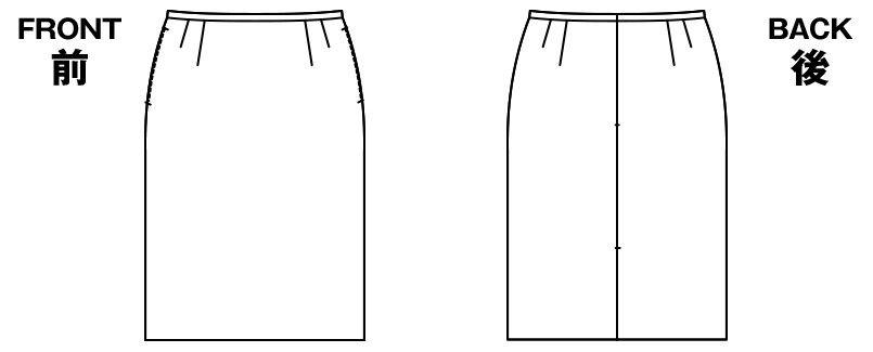 AR3814 アルファピア [秋冬用]セミタイトスカート シャドーストライプ ハンガーイラスト・線画