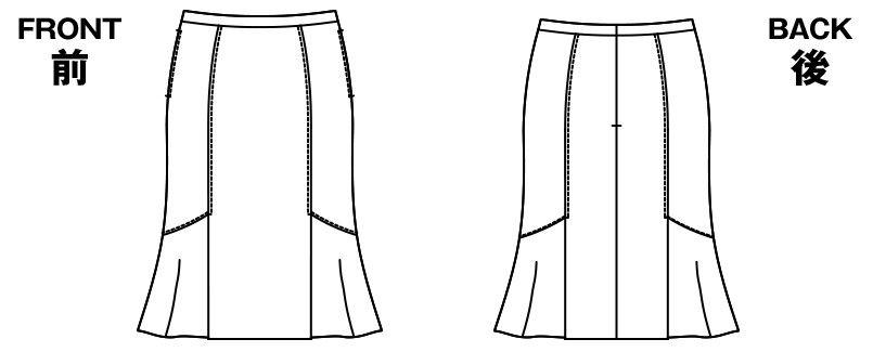 AR3815 アルファピア [秋冬用]デザインフレアースカート シャドーストライプ ハンガーイラスト・線画